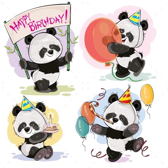 Happy Birthday Vector Set with Baby Panda Bears - Birthdays Seasons/Holidays