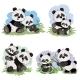 Vector Cartoon Set of Panda Bear Characters