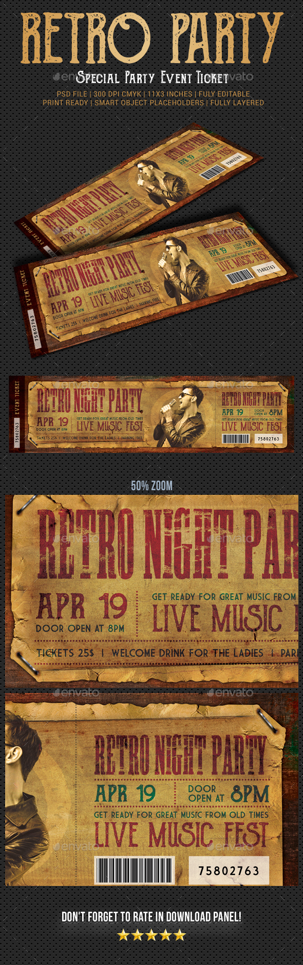 Retro Party Event Ticket - Cards & Invites Print Templates