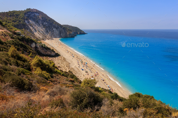 Milos beach on Lefkada island, Greece - Stock Photo - Images