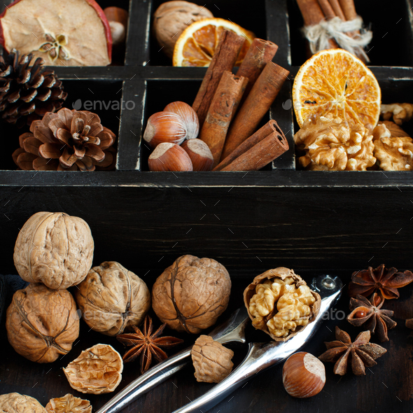 A box full of spices and nuts - Stock Photo - Images