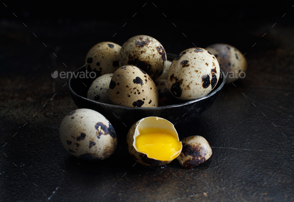 Quail eggs in a bowl - Stock Photo - Images
