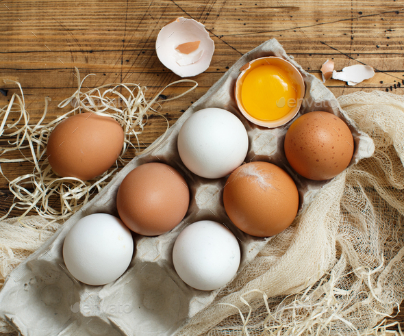 Сhicken eggs in a box - Stock Photo - Images