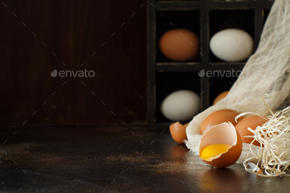 Сhicken eggs  on a dark background - Stock Photo - Images