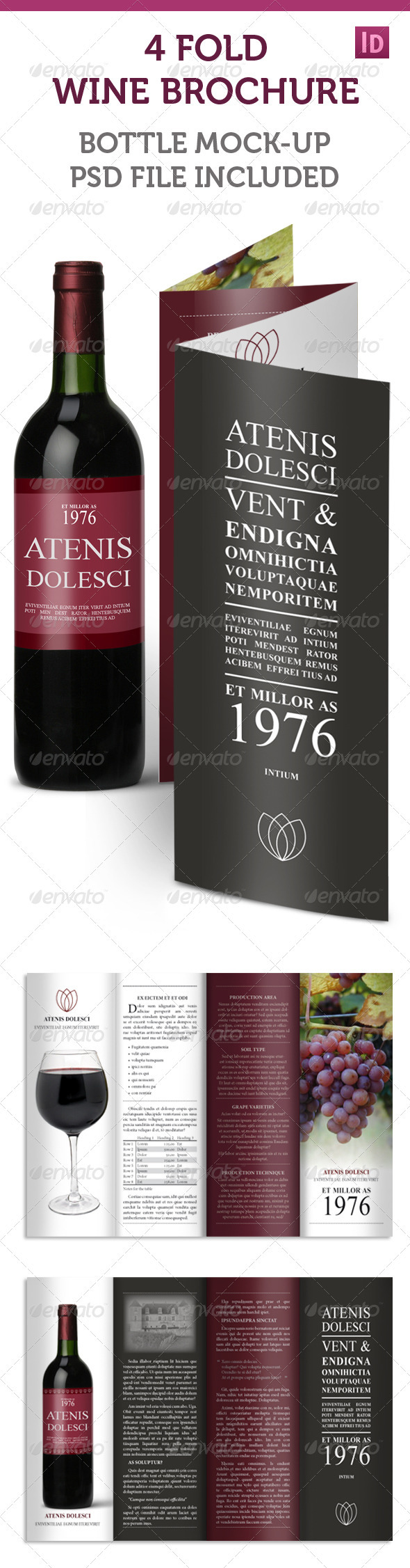 4-fold Accordion Wine Brochure by indesignlove | GraphicRiver