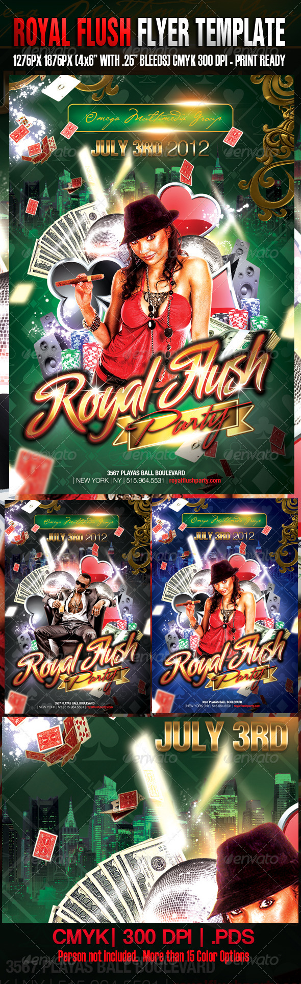 Royal Flush Template - Clubs & Parties Events