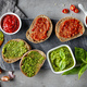 Bread slices with basil pesto and garlic tomato sauce - PhotoDune Item for Sale