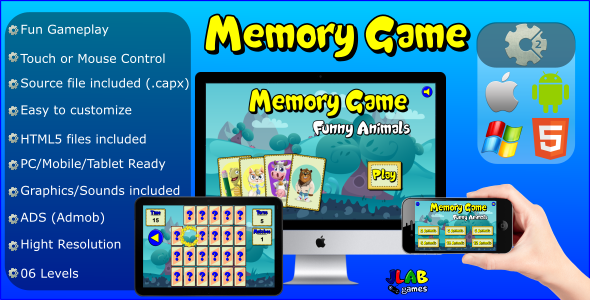 Memory Game Funny Animals - Educational Games (HTML5 and MOBILE) - CodeCanyon Item for Sale