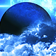 Abstract Blue Clouds in Space and Planet with the Big Blue Star on Background - VideoHive Item for Sale