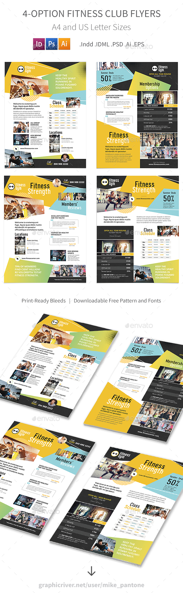 Fitness Club Flyers – 4 Options - Corporate Flyers