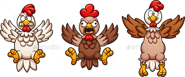 Flying Cartoon Chickens - Animals Characters