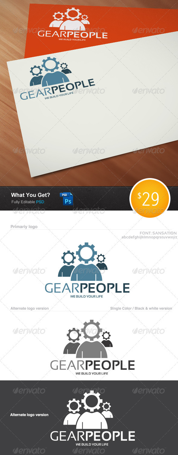Gear People Logo Template - Vector Abstract