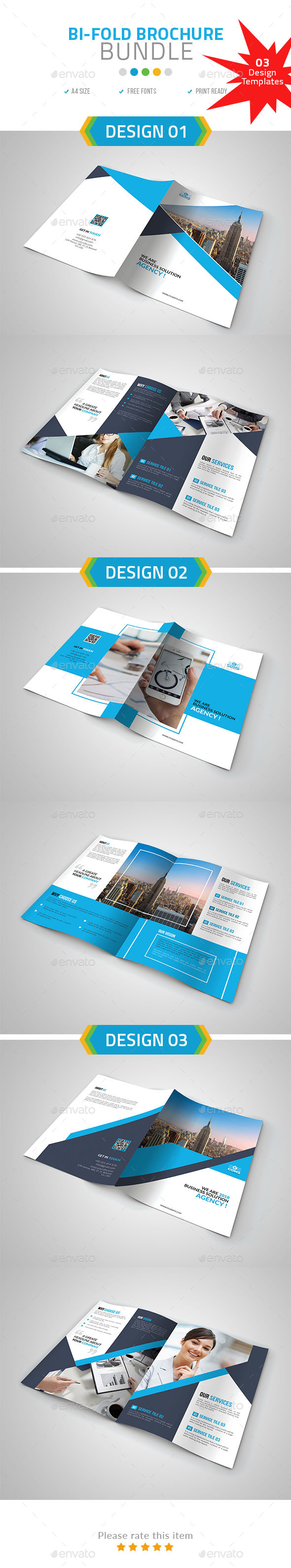 A4 Bi-Fold Brochure Bundle set 02 - Brochures Print Templates