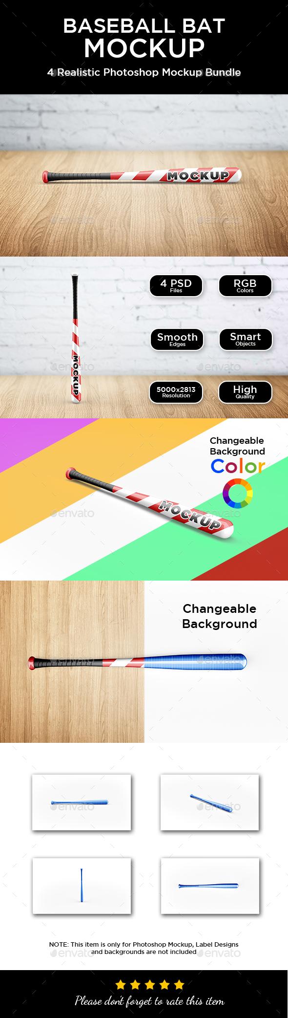 Baseball Bat Mockup - Product Mock-Ups Graphics