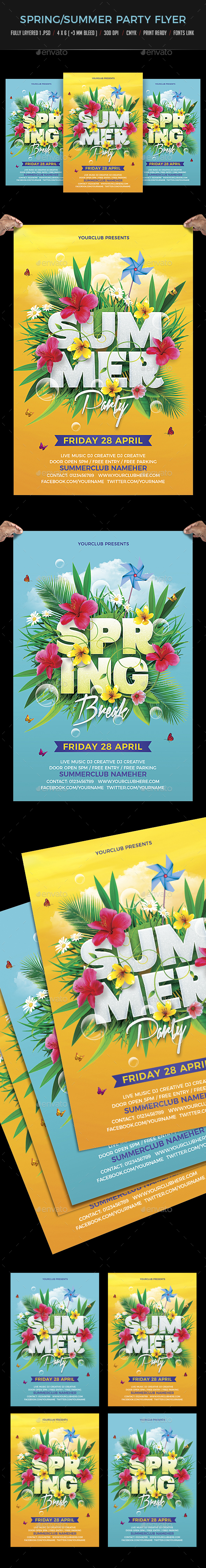 Spring Summer Party Flyer - Clubs & Parties Events