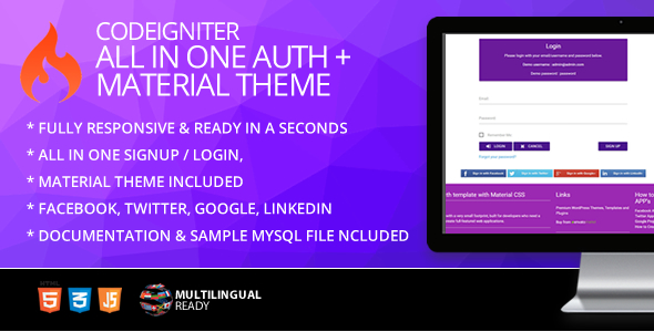 CodeIgniter ion-auth Template With Material CSS Theme - CodeCanyon Item for Sale