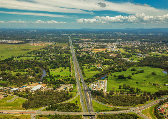 Aerial view of Caboolture and Bruce highway to Brisbane with Bri - Stock Photo - Images