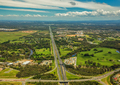 Aerial view of Caboolture and Bruce highway to Brisbane with Bri - PhotoDune Item for Sale