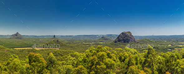 Panoramic view of Glasshouse Mountains on the Sunshine Coast fro - Stock Photo - Images