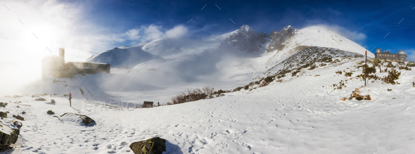 Skalnate tarn and Lomnicky peak, famous destinations in High Tat - Stock Photo - Images