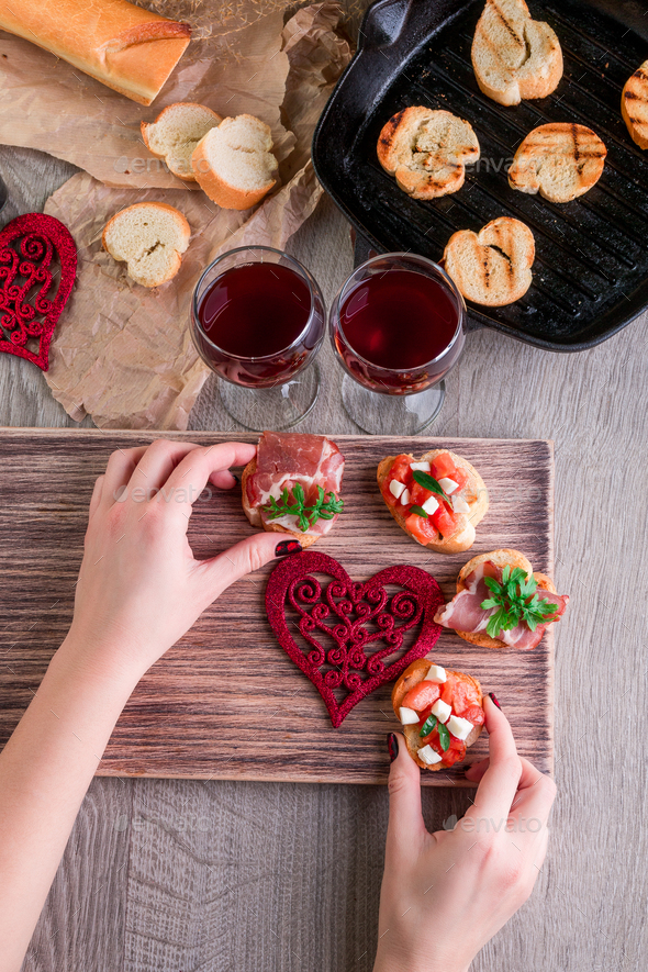 Romantic dinner. Love. Bruschetta set - Stock Photo - Images