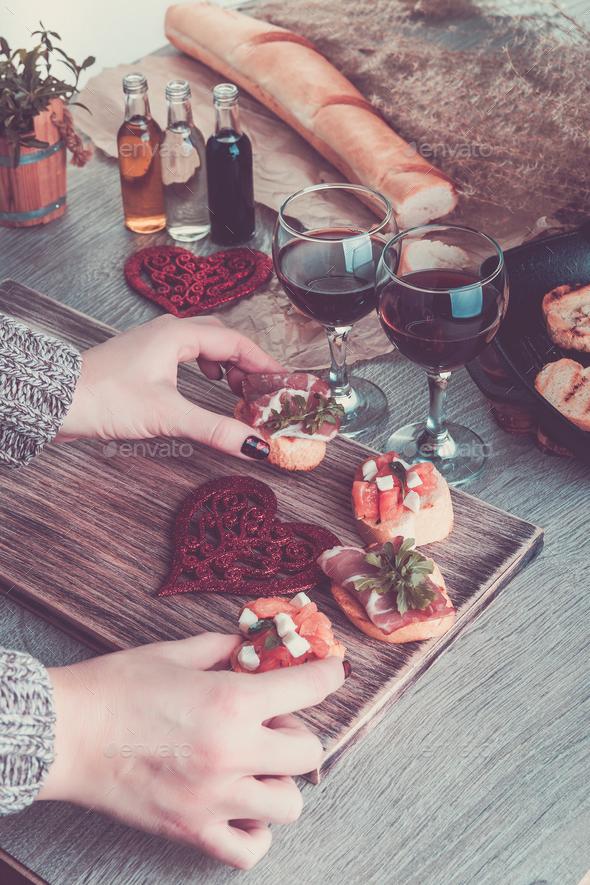 Romantic dinner. Love. Bruschetta set - Stock Photo - Images