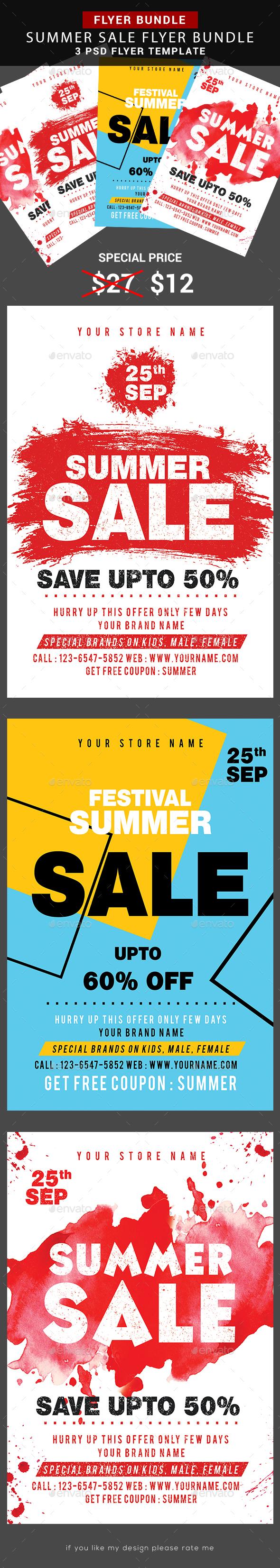 Summer Sale Flyer Bundle - Flyers Print Templates