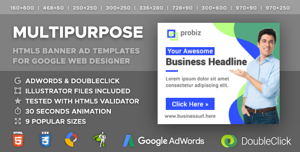 Probiz - Multipurpose HTML5 Banner Ad Templates (GWD, GSAP) - CodeCanyon Item for Sale