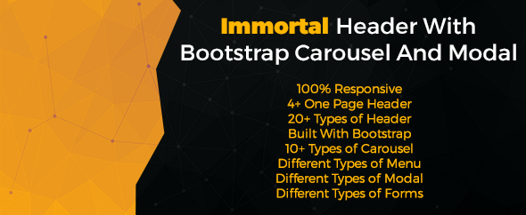 Immortal Header With Bootstrap Carousel And Modal - CodeCanyon Item for Sale