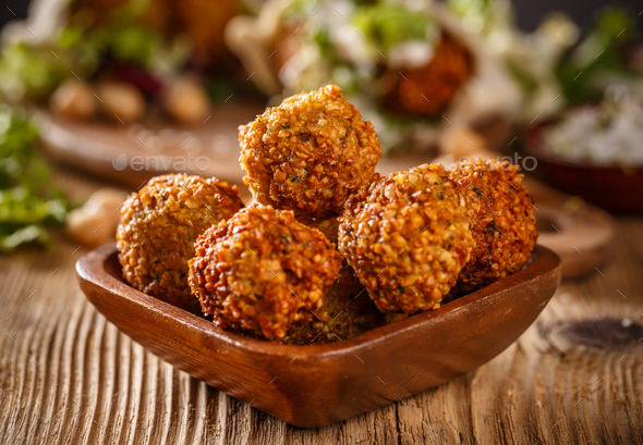 Falafel balls in wooden bowl - Stock Photo - Images