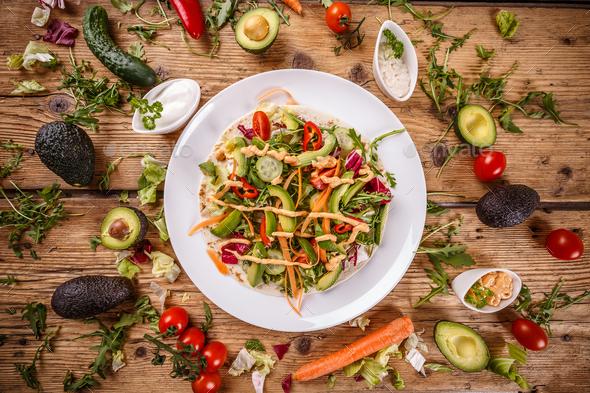 Salad tortilla wrap - Stock Photo - Images