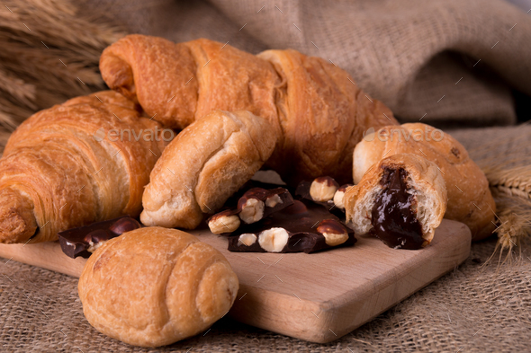 Chocolate croissants on board - Stock Photo - Images
