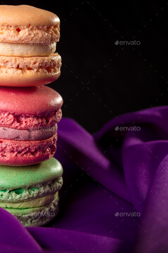 Tower of three colorful macaroons - Stock Photo - Images