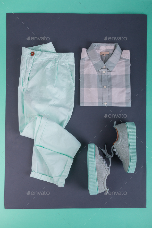 Summer or spring female mint color outfit. - Stock Photo - Images