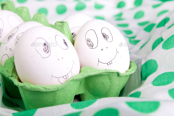 Easter eggs with funny faces - Stock Photo - Images