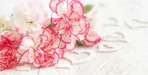 Spring background with flowers and hearts - Stock Photo - Images
