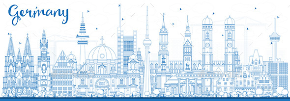 Outline Germany City Skyline with Blue Buildings. - Buildings Objects