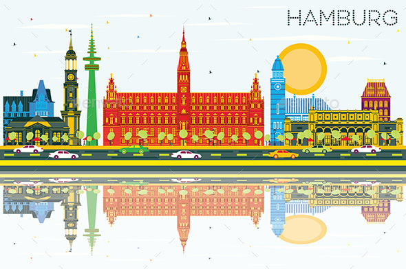 Hamburg Skyline with Color Buildings, Blue Sky and Reflections. - Buildings Objects