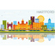 Hartford Skyline with Color Buildings, Blue Sky and Reflections. - GraphicRiver Item for Sale
