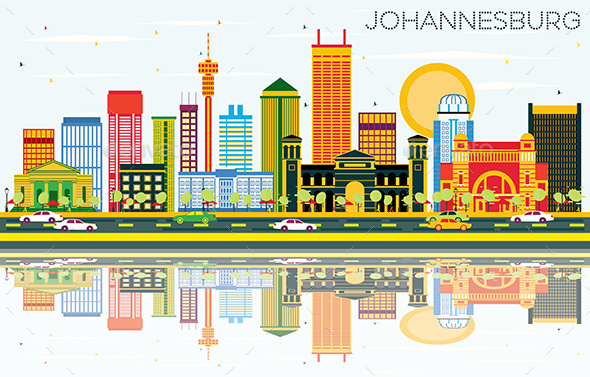 Johannesburg Skyline with Color Buildings, Blue Sky and Reflections. - Buildings Objects