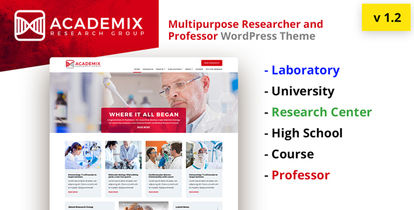 Academix - Multipurpose Education, Researcher and Professor WordPress Theme