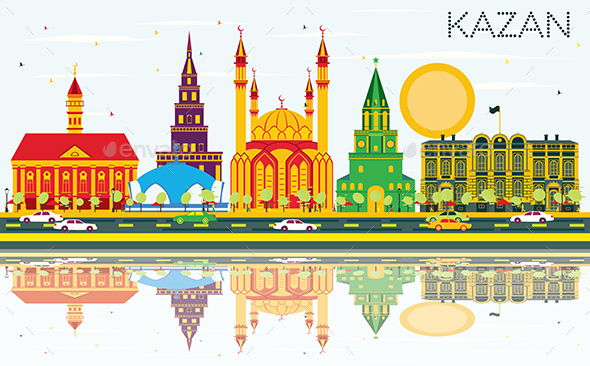 Kazan Skyline with Color Buildings, Blue Sky and Reflections. - Buildings Objects