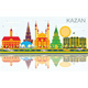 Kazan Skyline with Color Buildings, Blue Sky and Reflections. - GraphicRiver Item for Sale