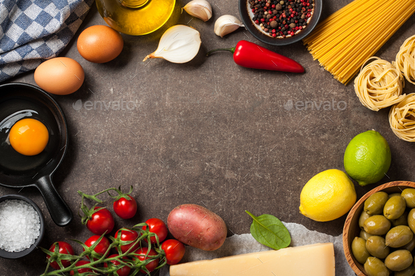 Cooking table with ingredients - Stock Photo - Images