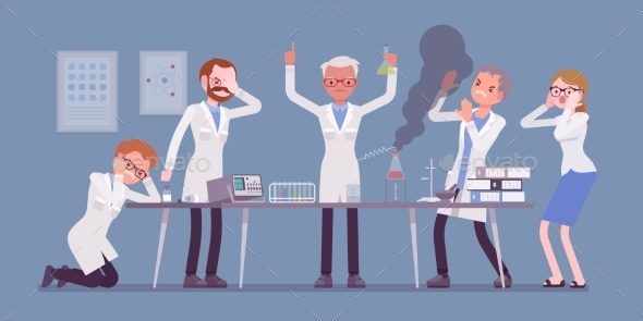 Mad Scientist Failed Chemical Experiments - People Characters