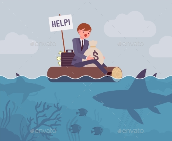 Business Attacked By Big Shark - Business Conceptual