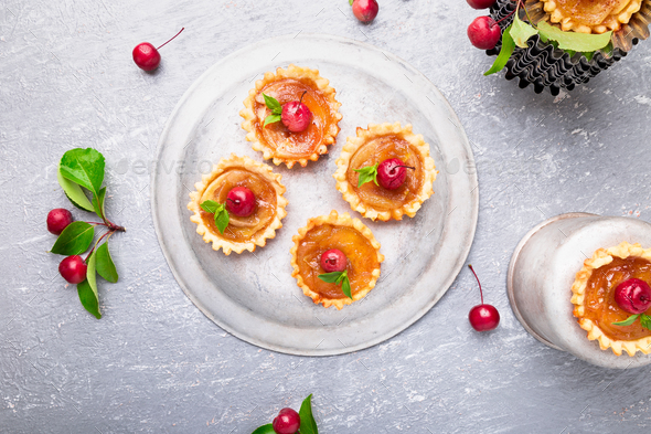 Apple caramel little tarts - Stock Photo - Images