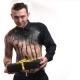 Cute Muscular Man in Black Body Art Throws a Gift in His Hands - VideoHive Item for Sale