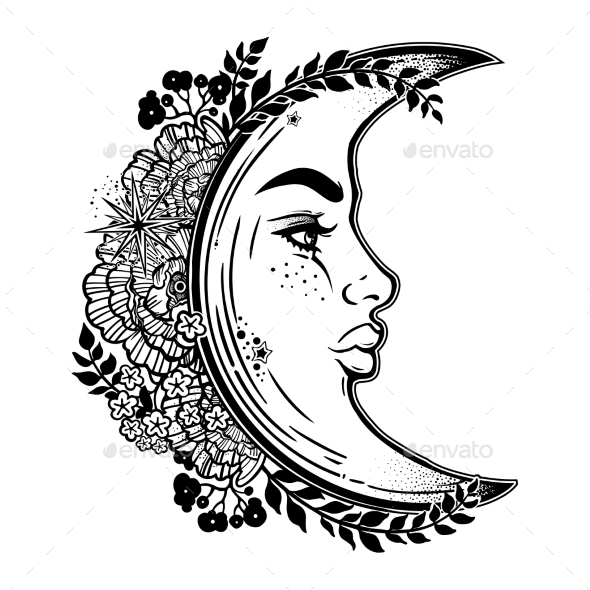 Crescent Moon As a Woman Face. - Tattoos Vectors