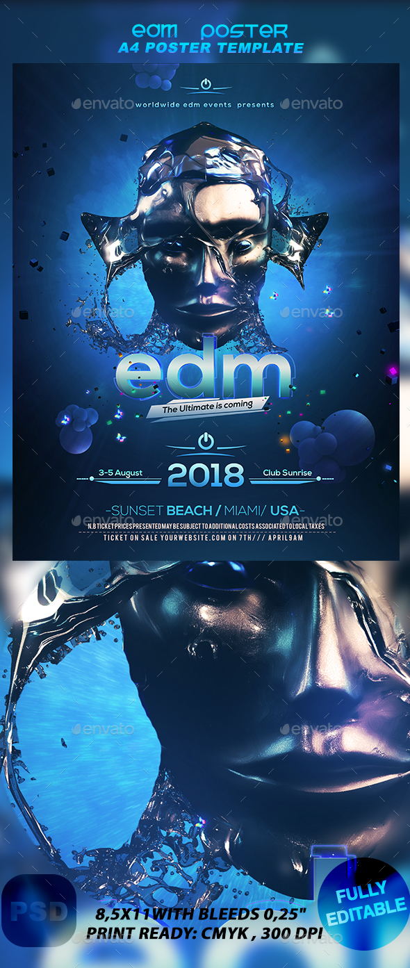 A4 EDM Poster - Events Flyers